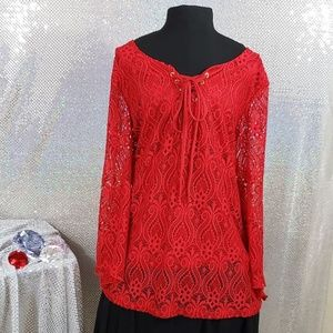 Red Brittany Black Lace-Up Eyelit Blouse